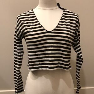 Forever 21 small blk white striped crop top